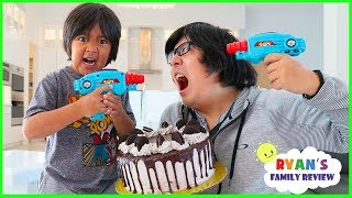 Download Ryan Laser Tag Blasters Challenge vs Daddy for Cake!!!!!