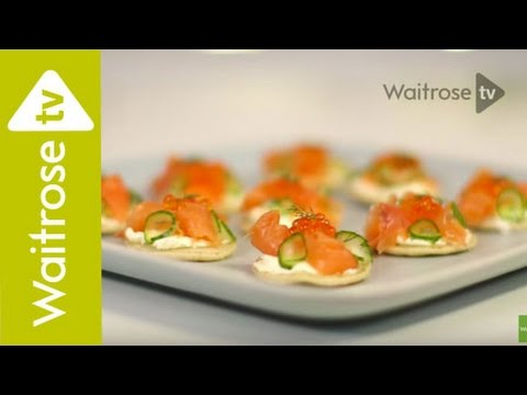 Heston's Smoked Salmon Blinis with Soured Cream Butter & Pickled Cucumber | Waitrose