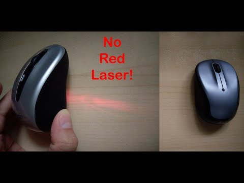 No Red Laser with this Wireless Mouse -- Truly innovative and lasts 18 months on a single battery!