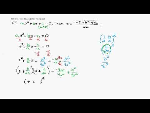 Proof of the Quadratic Formula
