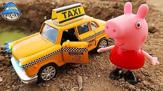 Peppa pig is taking a taxi ride. A taxi car that fell over. Peppa pig car play