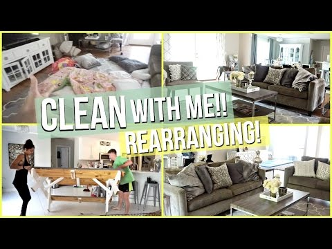 CLEAN WITH ME! REARRANGING | Living Room & Kitchen