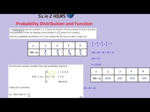 S1 in 2 Hours: Probability Function and Probability Distribution