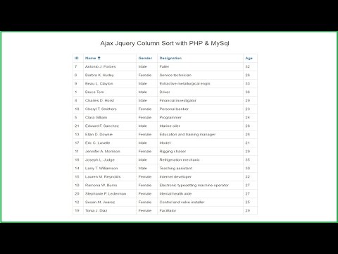 Ajax Jquery Column Sort with PHP & MySql