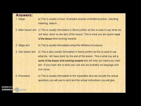 Lesson planning CELTA TESOL ELT ESL EFL