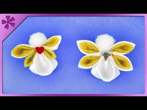 DIY How to make ribbon kanzashi angel (ENG Subtitles) - Speed up #421