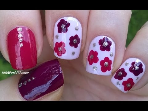 EASY FLOWER NAIL ART Tutorial - Burgundy & Pink Dotting Tool NAILS