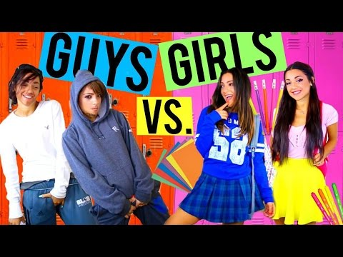 Guys vs. Girls in HIGH SCHOOL! Niki and Gabi