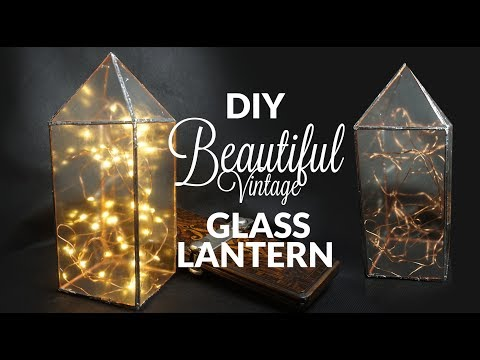 Glass lantern vintage home decor or geometric glass terrarium