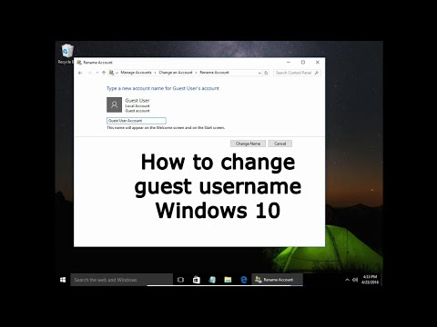 How to change guest user name Windows 10