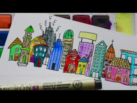 How To Doodle: Cityscape & Flowers