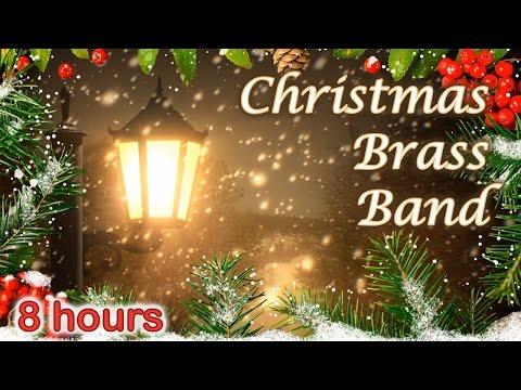 ☆ 8 HOURS ☆ CHRISTMAS MUSIC ♫ BRASS BAND Carols ☆ Christmas Music Instrumental ☆ Snow Falling