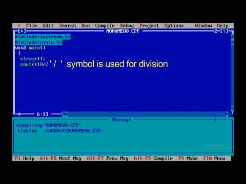 How to divide or find the reminder of numbers using turbo c++