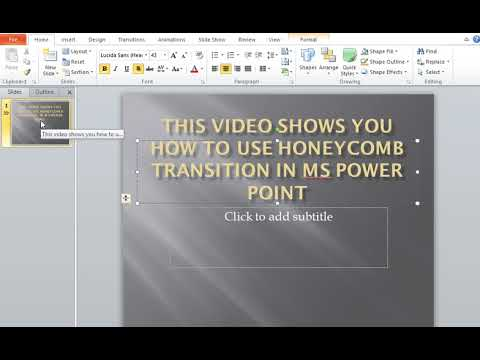 How to use HoneyComb Transitions in MS Power Point