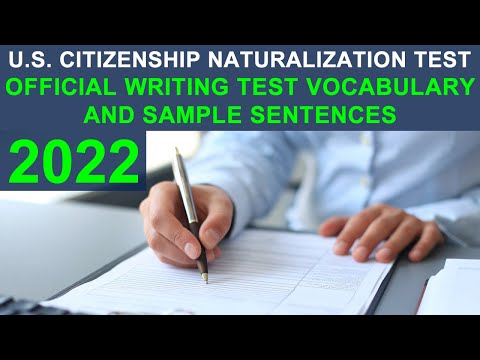 U.S. CITIZENSHIP TEST 2018 - OFFICIAL WRITING TEST VOCABULARY AND SAMPLE SENTENCES