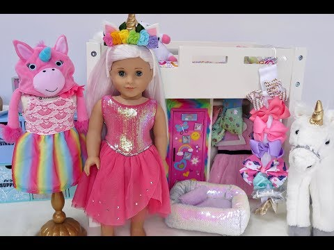 American Girl Doll Bedroom with Unicorns & Rainbows