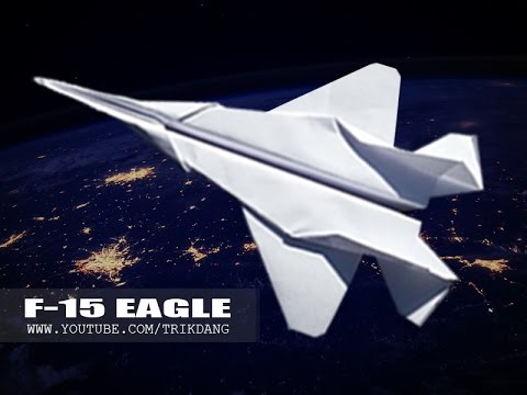 BEST ORIGAMI PAPER JET - How to make a paper airplane that FLIES FAR | F-15 Strike Eagle