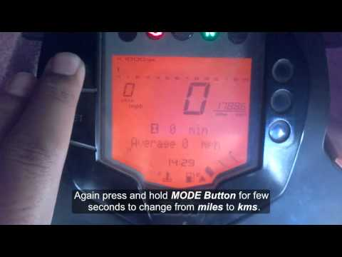 How to change kms to miles on speedometer in KTM Duke 200