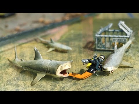 BRUDER TOYS scuba diving SHARK attack! | Kids video
