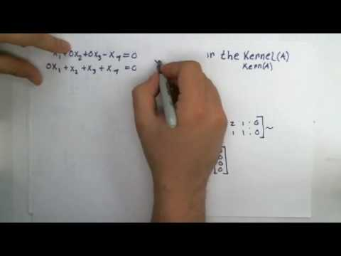 What is the null space or kernel, and how to find perpendicular vectors.