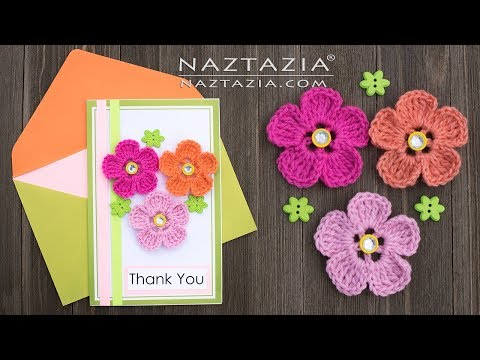 Learn How to Crochet a Flower Greeting Card - DIY Tutorial Birthday Anniversary Wedding Thank You