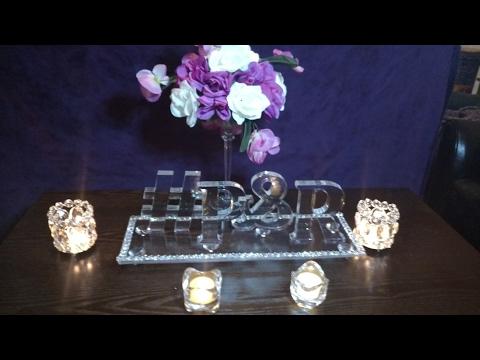 Glam Crystal Hashtag Wedding Centerpiece