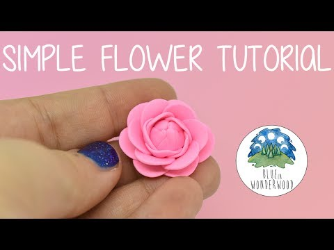 HOW TO MAKE a simple Pink Flower! - BACK TO BASICS - Polymer Clay Tutorial - Blue in Wonderwood