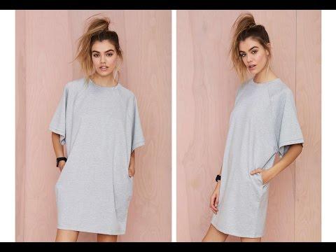 DIY  HOW TO MAKE AT-Shirt Dress ( Easy Sewing)