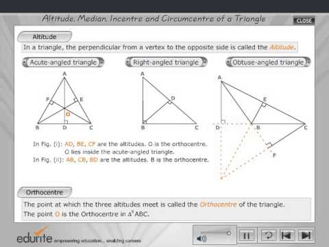Altitude,Median,Incentre and Circumcentre of a triangle