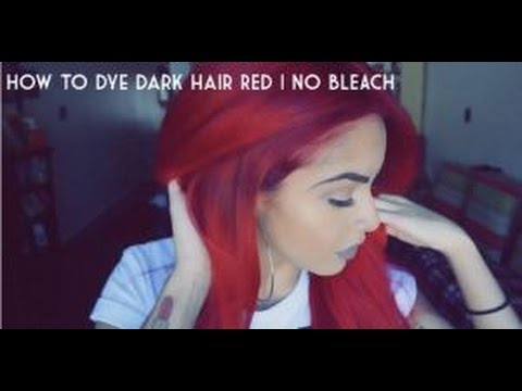 HOW TO: dye dark hair bright red | NO BLEACH