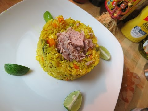Almost instant yellow rice & Tuna veggies