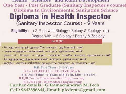 Health inspector | Careers and employability | Eligibility criteria ?