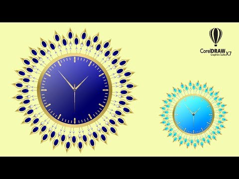CorelDraw Tutorial - How to Make - Stylish Wall Clock Design - With Vector design in urdu/Hindi