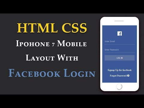 HTML CSS iPhone 7 Mobile Layout With Facebook Login [Urdu/Hindi]