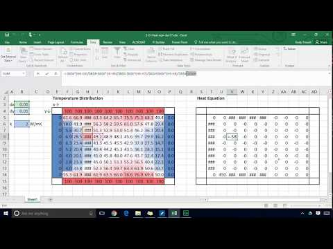 Solving the two dimensional heat conduction equation with Microsoft Excel Solver