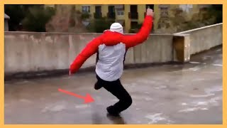 People Slipping On Ice - Funny People Falling On Ice Compilation 2019