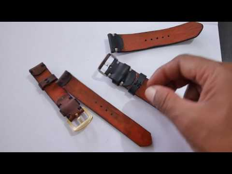 Black and Dark Brown Leather Watch Strap