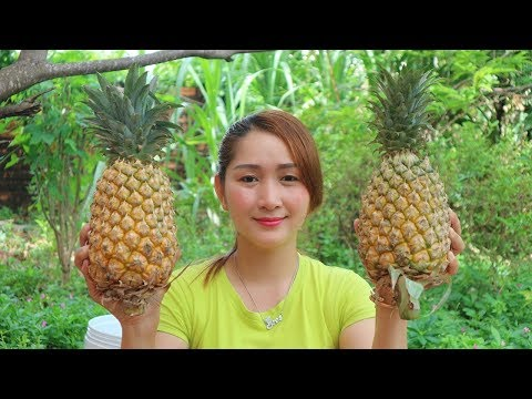 Yummy Shrimp Fried Rice Inside Pineapple - Shrimp Fried Rice Cooking - Cooking With Sros