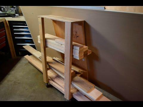 Homemade small lumber rack on wheels.