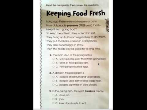 Keeping food fresh main idea worksheet