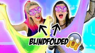 Blindfolded Slime Challenge! Making Giant Fluffy Slime With Cloe Couture!