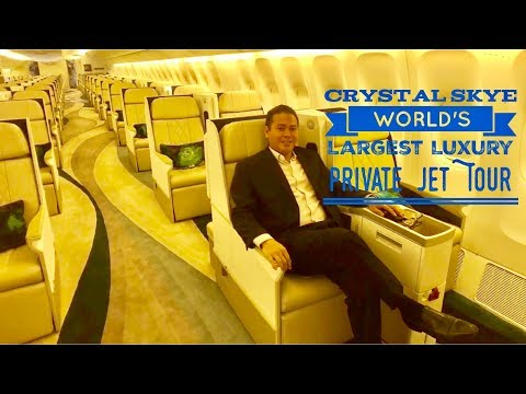 Crystal Skye Boeing 777-200LR World's Largest Luxury Private Jet Tour