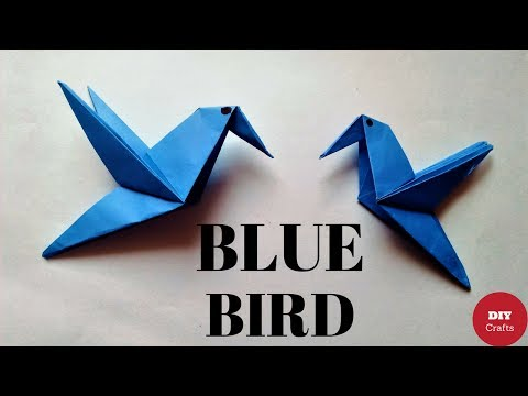 How to Make a Paper Bird (Very Easy) - Origami Flying Bird Instructions - Origami Little Blue Bird