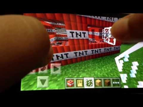 Minecraft PE Making of TNT house +blow up!
