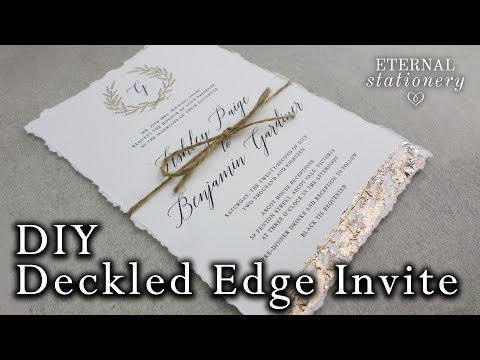 Faux deckled edge DIY Wedding Invitation with metallic gold leaf | Easy DIY Invitations
