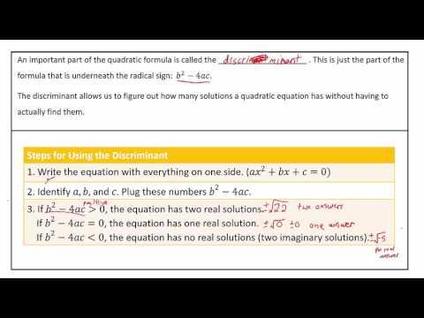 Algebra 1 - Applications of the Discriminant