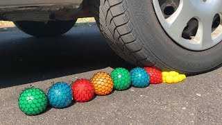 Crushing Crunchy & Soft Things by Car! - EXPERIMENT: SLIME ANTISTRESS BALLS VS CAR