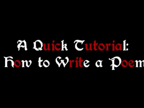 How to Write A Poem Quick Tutorial