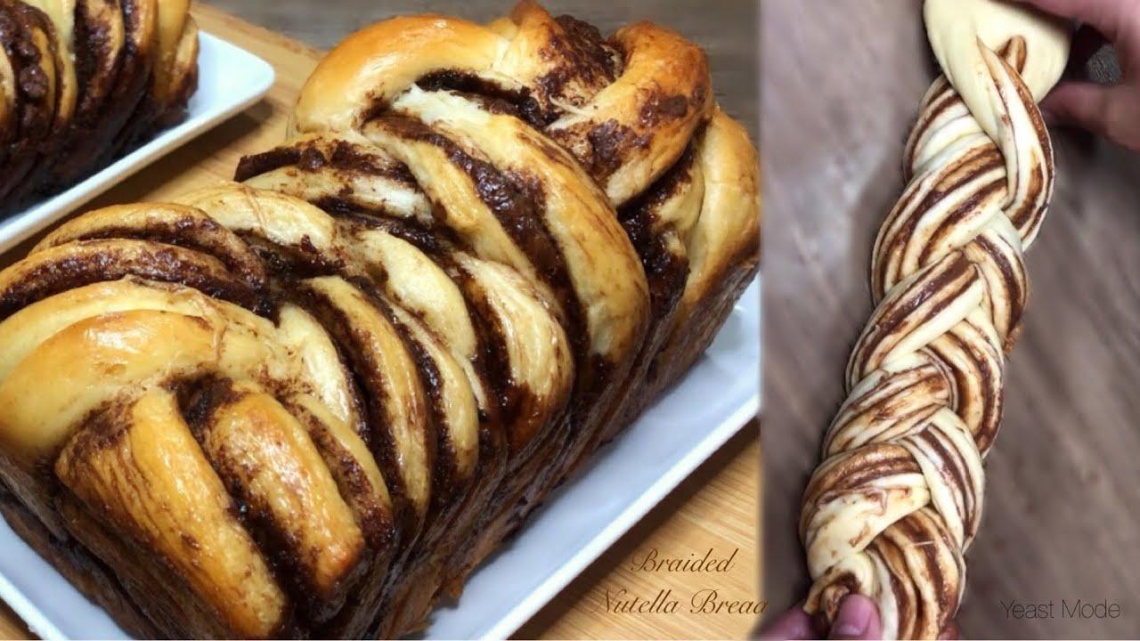 BRAIDED NUTELLA BREAD   CHOCOLATE LOAF BREAD