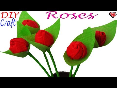 How To Make Rose Using Fabric Carry Bags || DIY- Recycle Ideas With Shopping Bag